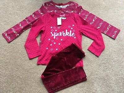 Marks And Spencer's Velvet Glitter Leggings And Long Sleeve Tops Set Age 4-5