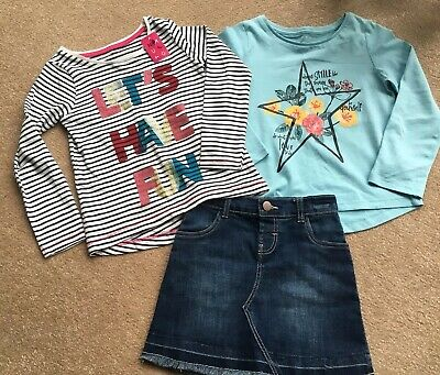 Girls Outfit Denim Skirt And Long Sleeve Top Set Age 5-6