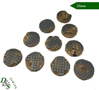 32mm Round Urban Shattered Pavement Resin Scenic Bases (x10) Warhammer 40K