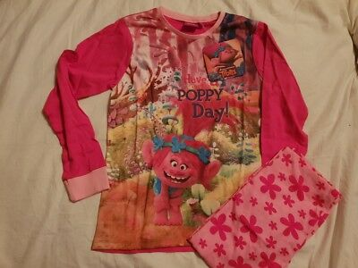 BNWT TROLLS - Have a Poppy Day - Girls Pink Pyjamas Nightwear Set - Age 9-10