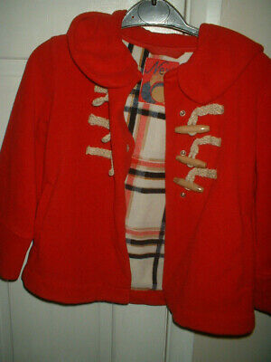 Age 5 Next Girls Red Winter Coat Duffle Jacketwith Hood