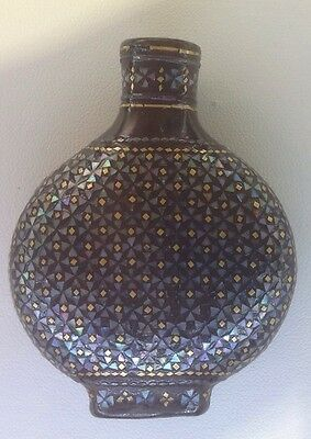 Fine 19 C Antique Chinese Qing Lacquer Gold Mop Geometric Inlaid Snuff Bottle 4
