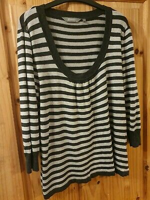 New Look Maternity Grey Stripe Knitted Top - 3/4 Length Sleeve- Size 16