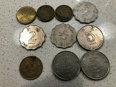 Hong Kong coin collection. 33 coins of various dates and values