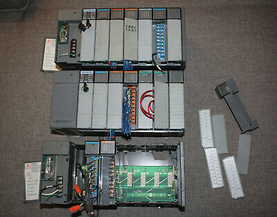 Allen Bradley SLC 500 5/04 - Lot with 2x CPU, 3x Backplane and PSU, And many IO