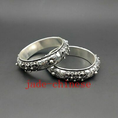 Collect Chinese Old Guizhou Miao Silver Handmade Flower Bracelet Bangle Pair
