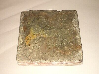 Antique 13th Century Medieval Clay Tile With Animal Design Architectural H