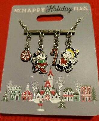 Disney Parks 2019 My Happy Holiday Place Necklace Christmas Mickey Minnie