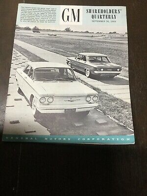 Vintage Gm Chevrolet Shareholders Quarterly Booklet 1959.....