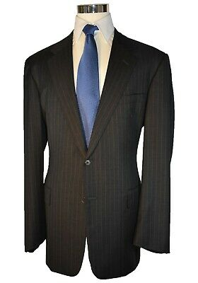Chester Barrie Savile Row for Saks 5th Avenue Black Pinstripe 100% Wool Suit 46L