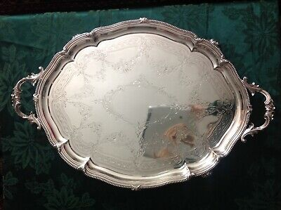 Huge Antique English, Victorian Sterling Silver Footed Tray