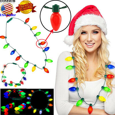NEW Disney Parks LED Christmas Light-Up Holiday Glow Necklace Flashing Bulbs US