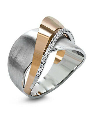 Creative Two Tone 925 Silver Rings Women White Sapphire Wedding Ring Size 10