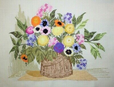 """Bright in a Corner"" Flowers by Paragon Crewel Embroidery Completed Finished"
