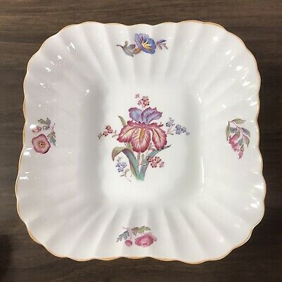 "Spode Copeland Iris Square Vegetable Bowl 9"" Bone China England Pink Blue Floral"