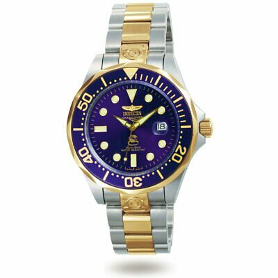 Invicta 3049 Men's Pro Diver Two Tone Gold Plated Blue Dial Dive Watch