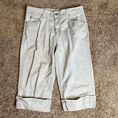 Faded Glory Stretch Capris Womens Size 6 Beige Cropped Pants
