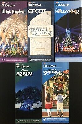 NEW 2019 Walt Disney World Theme Park Guide Maps - 5 Current Maps Free Shipping!