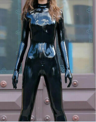 Latex 100% Rubber Catsuit Wetlook Schwarz Overall Tight Bodysuit Cosplay S-XXL