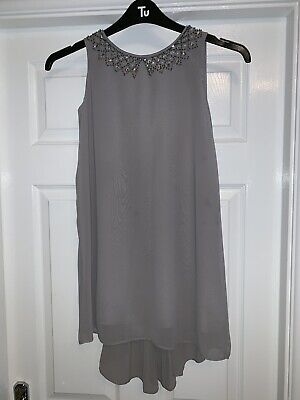 Next Girls Beautiful Grey Occasion Sparkle Detail Party Dress Age 10 Years