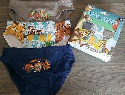 3 Pieces Slips Briefs Boys Ice Age 4/5 Years