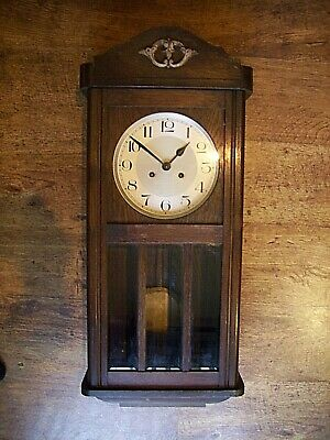 Antique Early 20th Century Oak Wall Clock with Chime Swinging Pendulum & Key
