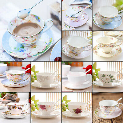 European Fine Bone China Tea Coffee Cup Saucer Set 200ml Luxury Ceramic Mug Hot