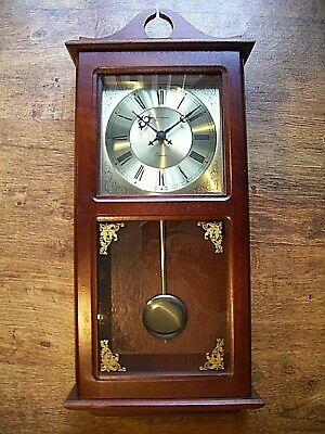 Vintage Oak Cased Spectrum Wall Clock (Swinging Pendulum Quartz Battery Bracket)