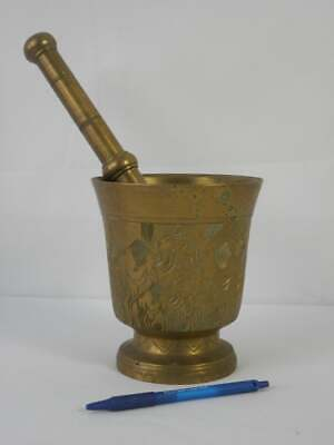 vintage Tunisian hand carved very heavy large solid brass mortar and pestle