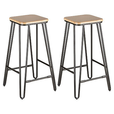 Hartleys 2x Gunmetal Grey Hairpin Leg Breakfast Bar Stools Cafe/Bistro Stool Set
