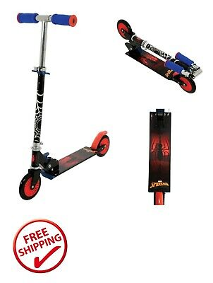 Spider-Man Folding Inline Scooter Black Push Scooter Outdoor Fun for Boys
