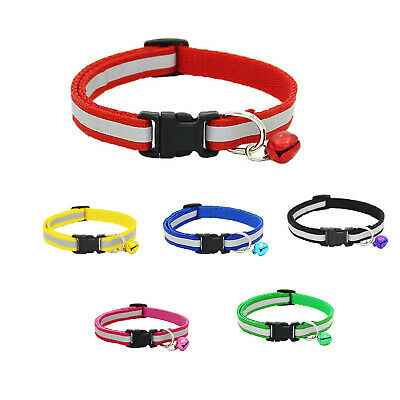 Adjustable Reflective Pet Collar Safety Release Buckle with Bell for Cat Do G6O8