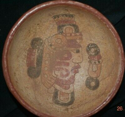 Sale!! Pre Columbian Mayan Tripod Bowl Figures, Glyphs 4In Prov