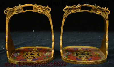 Old China Bronze Cloisonne Enamel Fengshui Rider Horse Pedal Stirrup Statue Pair