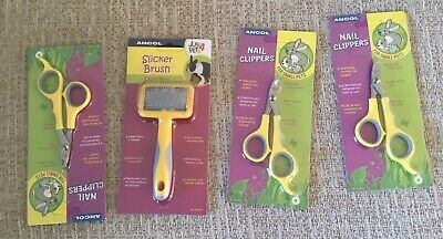 Job Lot Four Ancol Small Animal Nail Clippers & Slicker Brush New