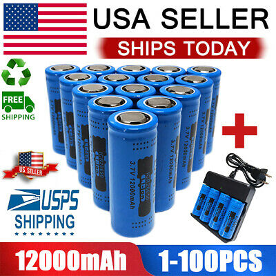 26650 Battery GTL 12000mAh Fire Li-ion 3.7V Flat Top Rechargeable For Torch Lot