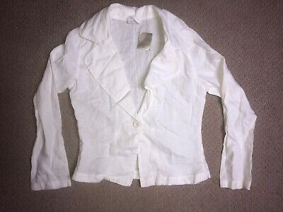 Girls Next White Linen Light Jacket Age 11-12 Years