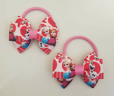 Girls Frozen 2 pcs Hair Bobbles Girls Hair Bows Girls Frozen Pigtail Bows