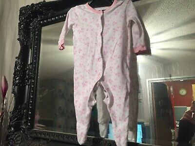 Baby Girls George White/Pink Sleepsuit Age 0-3 Months