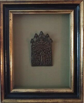 ANTIQUE 19c BRONZE RUSSIAN OLD BELIEVERS ICON MOTHER OF ALL WHO SORROW FRAMED