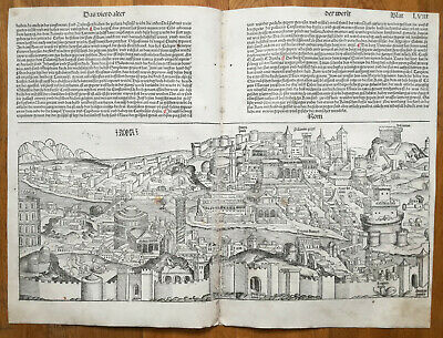Incunable Leaf Schedel Liber Chronicorum Large View of Rome Roma  - 1493