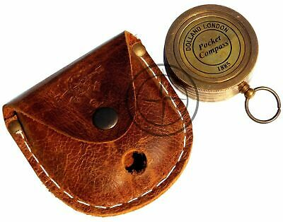 Solid Brass Pocket Compass~Vintage Victorian Dollond London Sundial Dial Compass