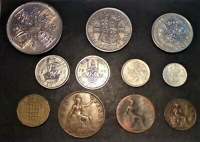 BRITISH COLLECTION PRE-DECIMAL (11 Coins) - 1953 CROWN - FARTHING.