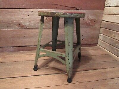 Vintage Industrial Metal Stool Shop Garage Mid Century - Beautiful Stool!