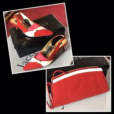 Beautiful Jacques Vert Red/Cream Shoes Size 6 and Matching Clutch Bag