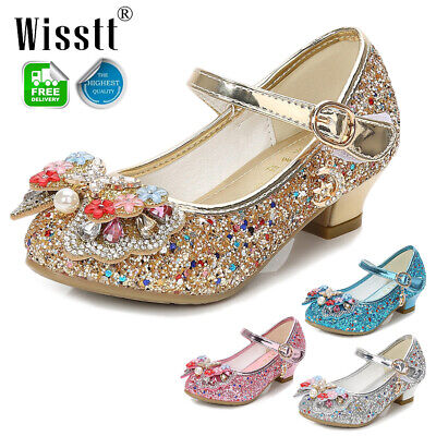 Girls Kids Children Low Heel Party Wedding Mary Jane Sparkly Sandals Shoes Size