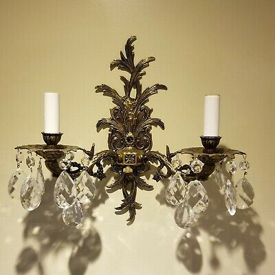 Vtg Brass Candelabra Sconce Wall Light Lamp 2 Arm Electric Candle Spain Ornate
