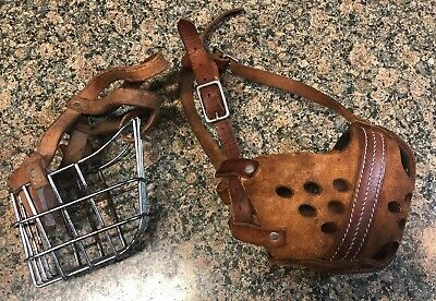 2 Muzzles RIVETED LEATHER Stitched Strapped Metal And Forced. And Basket  Muzzle