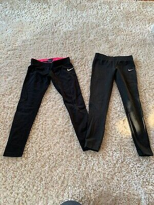 Two Pairs Of Girls Nike Leggings XS Age 6 To 8 Years