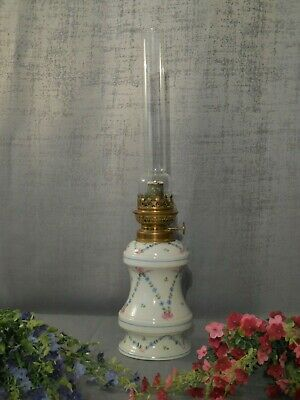 Antique French Oil Lamp Kerosene Parlor Victorian Porcelain Hand Painted Floral